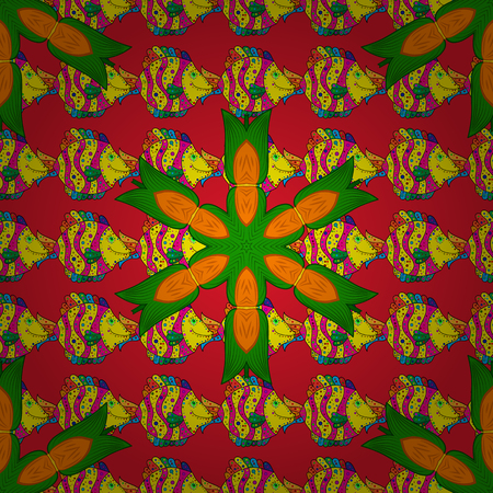 Flowers on red, yellow and green colors. Flower painting vector for t shirt printing.