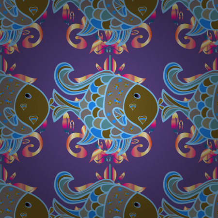 Seamless. Classical embroidery tropical fishes seamless fashion pattern.
