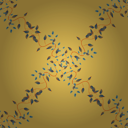 Seamless pattern Different branches and leaves in gold background