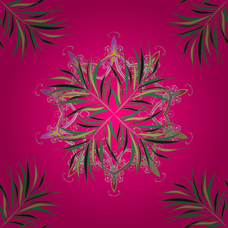 Cute leaves pattern on magenta, brown and gray colors
