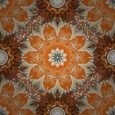 Lace seamless pattern. Mandala flower coloring book for adults Vector illustration. Orange, beige and brown colors. Anti-stress coloring for adult. Illustration