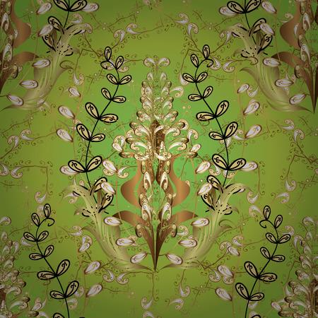 Seamless golden pattern on green background Illustration