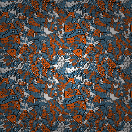 Seamless pattern Print. Design. Vector. Nice fabric pattern. Flat elements. Doodles blue, black and orange on colors. Çizim