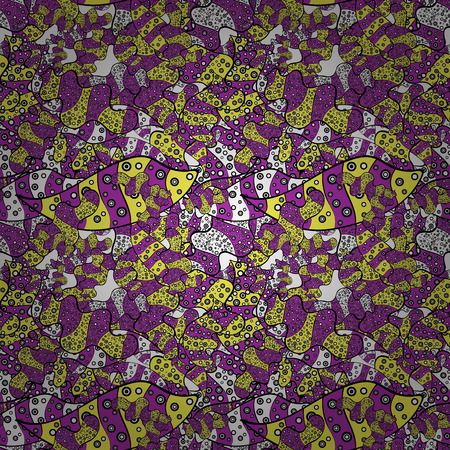 Vector. Doodles purple, black and yellow on colors. Print. Fashionable fabric pattern. Foto de archivo - 97635023