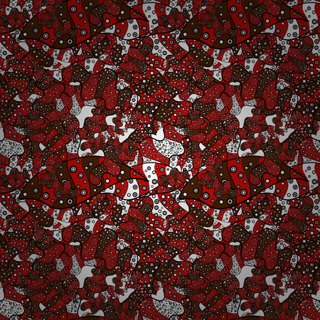 Seamless Elegant vector texture with floral elements. Doodles red, black and brown on colors.