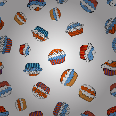 Vector illustration. Seamless pattern with hand drawn doodle desserts: cupcakes, cake, pie, muffins. Cute birthday background on white, orange and blue.