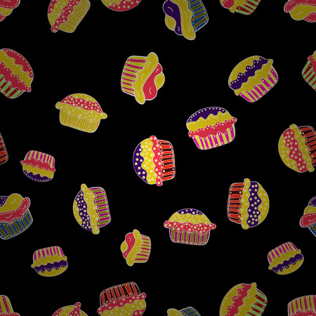 Seamless of hand drawn vintage cute cupcakes and muffins. Cupcake pattern. Nice birthday pattern on black, yellow and pink. Vector illustration. Illustration