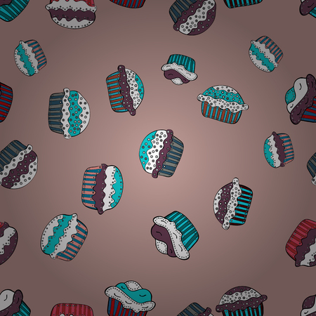 Seamless pattern cake. Bright birthday pattern on neutral, white and blue. For food poster design. Vector illustration. 일러스트