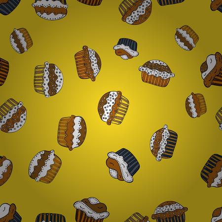 Watercolor seamless pattern with cupcakes. Bright birthday pattern on yellow, white and orange. Wrapping paper. Vector