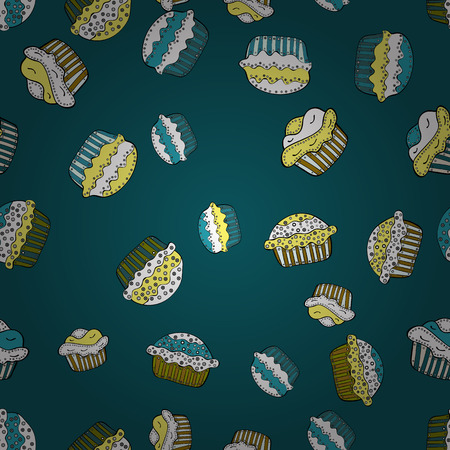 Decorative wallpaper, good for printing. Colorful background vector with collection of confectionery. Romantic ornament, backdrop design. Seamless cupcakes hand drawn seamless pattern.