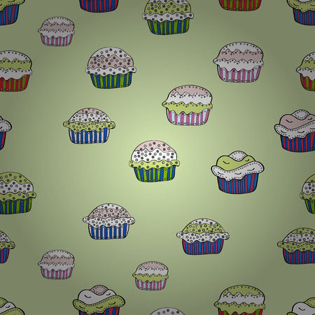 Pale beige, neutral and white seamless pattern with cupcakes. Sweets background design. Cute birthday background on beige, neutral and white. Vector illustration.