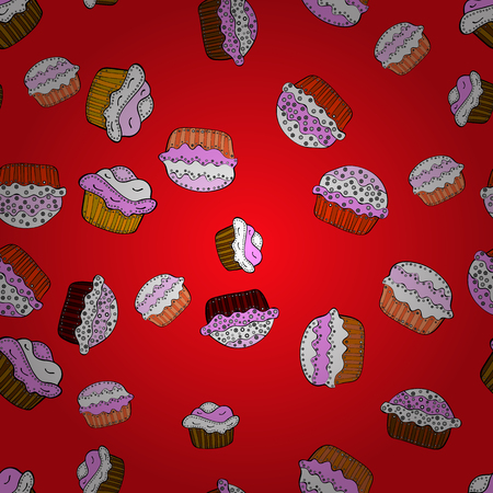 Seamless with cupcake. For food poster design on red, white and pink. Wrapping paper. Vector illustration.