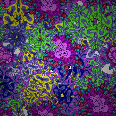 Doodles violet, black and blue on colors. Design Nice fabric pattern. Flat elements. Print Vector illustration. Illustration