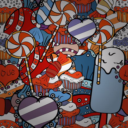 Vector illustration. Candy store. Sweets and candles, line drawings. Seamless.