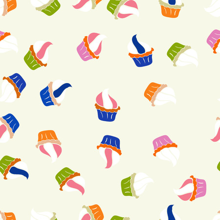 Vector. Seamless pattern with sweets - ice cream, cupcakes isolated on cute neutral, white and pink background. Can use for birthday card, the children menu, packaging, textiles, fabrics, wallpaper.