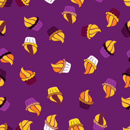 Abstract backdrop for girls, wrapping paper. Vector illustration. Food elements colorful repeated wallpaper on purple, yellow and orange. Seamless cakes pattern.