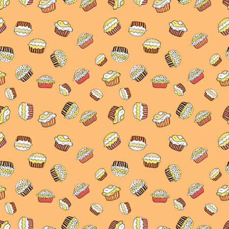 Vector illustration. On beige, white and yellow. Of different types of beautiful modern cakes, such as chocolate cake. Cakes seamless pattern collection.