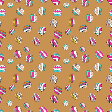 Cupcakes seamless pattern with watercolor on orange, white and pink background. Sweets background design. Hand drawn doodle illustration with pastry. Vector illustration.