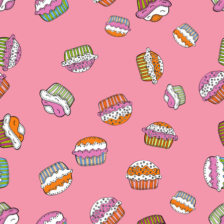 Seamless cakes pattern. Food elements colorful repeated wallpaper on pink, white and black. Vector illustration.