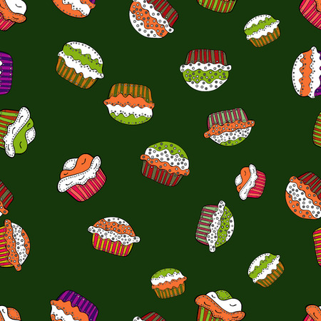 Seamless amazing festive cakes and tasty cupcakes of unusual design. Cute birthday pattern on green, white and orange. Vector 일러스트