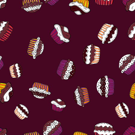 Seamless of cute vector cupcakes and muffins. Colorful cupcake isolated for food poster design on brown, white and black. Çizim