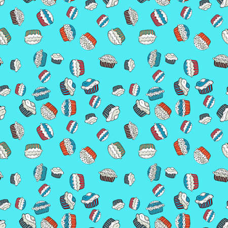 Sweets background design. Pale blue, white and gray seamless pattern with cupcakes. Vector illustration. Cute birthday background on blue, white and gray.