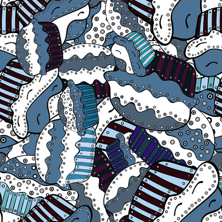 A Seamless pattern with hand drawn doodle desserts: cupcakes, cake, pie, muffins. Cute birthday background on white, blue and black. Vector illustration.