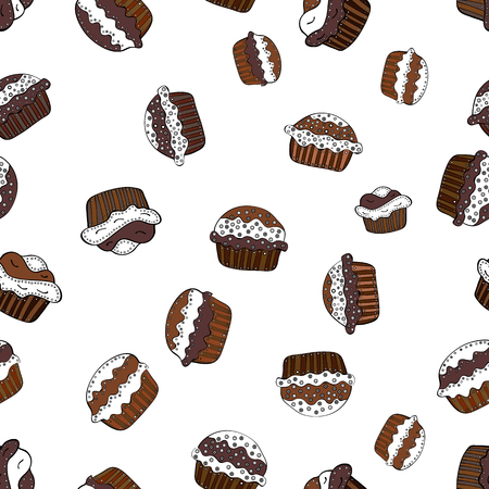 A Vector cupcake illustration. Hand drawn cupcakes. Cute birthday pattern on white, brown and black. Doodle cakes with cream. Vector illustration.