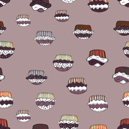 A Seamless bright birthday pattern on neutral, white and brown. Cake, cap, cone. Wrapping paper. Vector illustration.