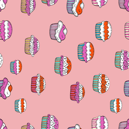 Seamless amazing festive cakes and tasty cupcakes of unusual design. Cute birthday pattern on pink, white and black. Vector illustration.