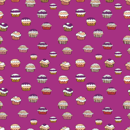 Cake muffin cute seamless pattern. Nice birthday pattern on pink, white and beige. For food poster design. Vector illustration. 일러스트