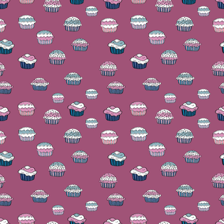 Cupcake seamless pattern. Cute birthday background on pink, white and blue. Sweets background design. Wrapping paper. Vector illustration.