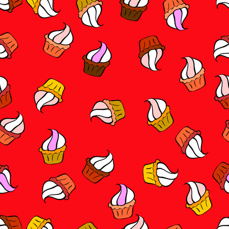For food poster design. Nice birthday pattern on red, white and black. Cake muffin cute seamless pattern.