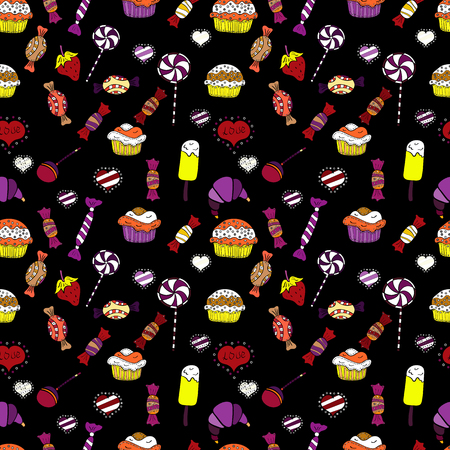 Isolated. Black, white and purple version. Cute and colorful candy sweet seamless pattern on black, white and purple background. Vector illustration.
