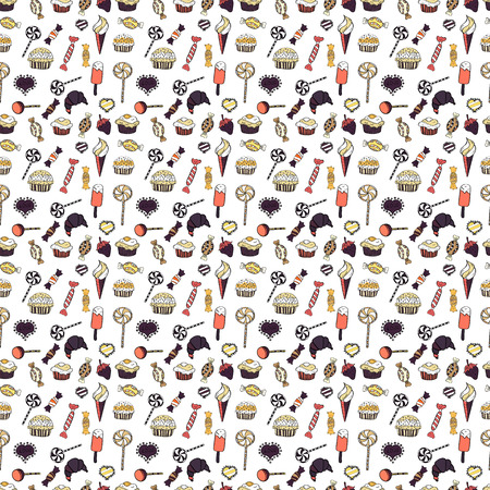 Colorful candies pattern on white background. Illustration