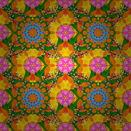 Seamless flowers pattern. Vector illustration. Flat Flower Elements Design. Colour Spring Theme seamless pattern Background. Flowers on orange, green and yellow colors. In asian textile style.