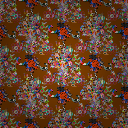 Flowers on brown, blue and orange colors. Colour Spring Theme seamless pattern Background. Seamless pattern with flower. Flat Flower Elements Design.