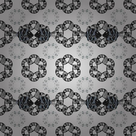 Black and white fish and chained pattern on a gray background Ilustração