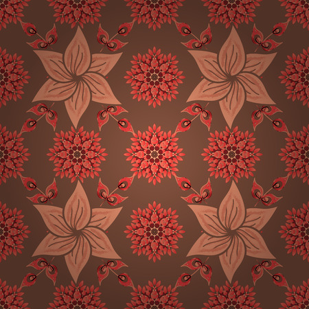 Multicolor brown, orange and red elegant little flowers and funny bugs on a brown, orange and red colors, vector texture, illustration.