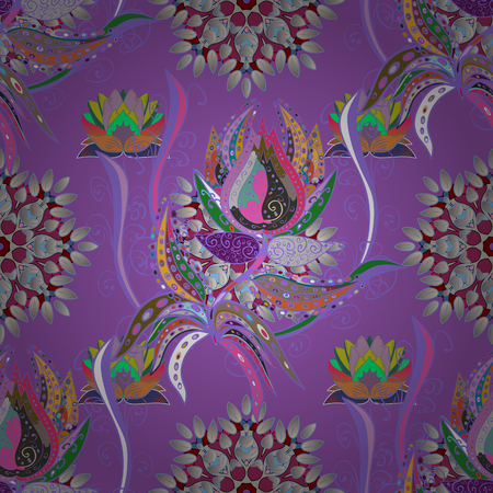 Colorful floral abstract pattern textile design illustration