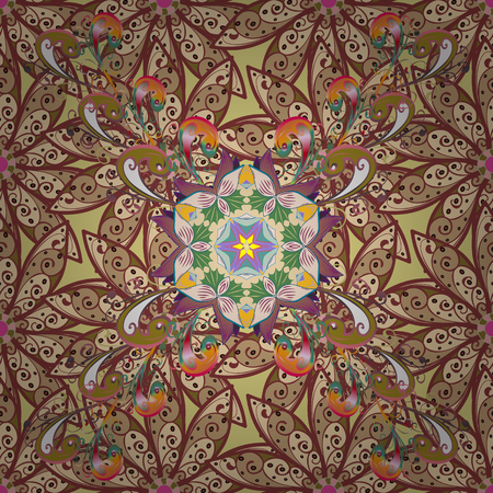 Colorful abstract floral mandala textile design illustration