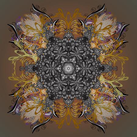 Colorful floral inspired mandala textile design illustration Illustration