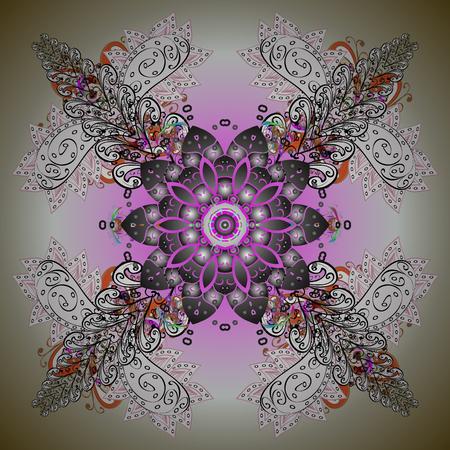 Colorful abstract floral mandala textile design illustration
