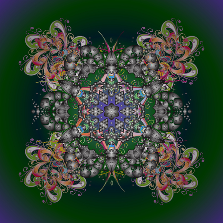Circular floral inspired mandala textile design illustration