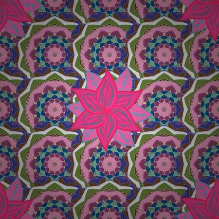 Vector flower print. Vintage outline illustration. Floral seamless pattern.