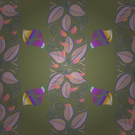Flat Flower Elements Design. Colour Spring Theme seamless pattern Background. Beautiful fabric pattern. Seamless Floral Pattern in Vector illustration. Illustration