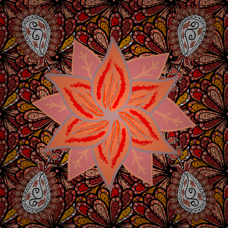 Flat Flower Elements Design. Seamless retro pattern with flowers. Colour Summer Theme seamless pattern Background. Flowers on black, orange and red colors.