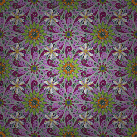 Vector illustration of violet, gray and green flowers. Seamless pattern with flowers on motley background.