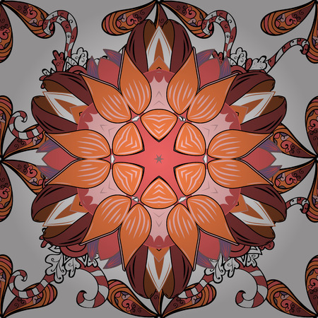 Flowers on white, orange and pink colors in watercolor style. Seamless floral pattern with flowers on white, orange and pink colors. Ilustração
