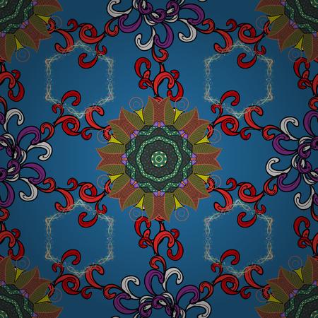 Colour Spring Theme seamless pattern Background. Flowers pattern. Seamless Chichi fabric pattern. Vector illustration. Flat Flower Elements Design. Ilustração